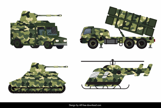 military vehicle equipment icons modern colored design
