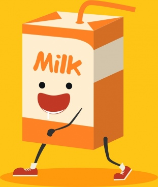milk advertising background stylized paper box icon