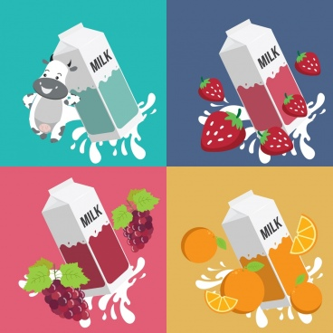 milk advertising backgrounds cow strawberry grape orange icons