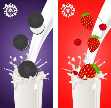 milk advertising banner colorful design strawberries cakes decoration