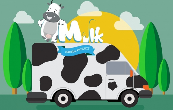 milk advertising car cow icons cartoon design