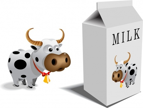 milk advertising paper box cow icons 3d design