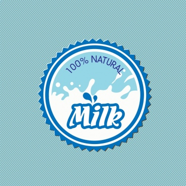 milk badge serrated circle style liquid text decoration