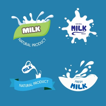 milk logo desig elements liquid ribbon text decoration