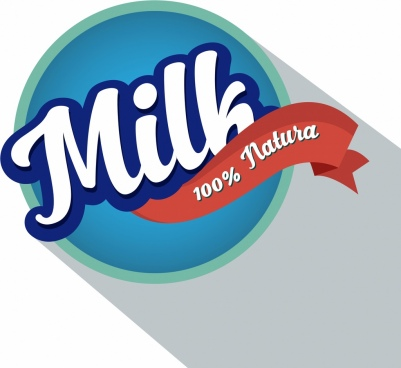 milk product label round design ribbon decoration