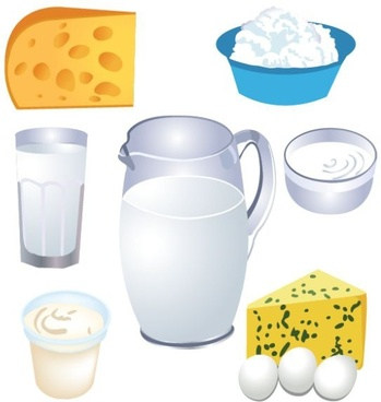 dairy food design elements 3d icons