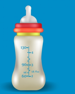milk promotion banner realistic baby bottle ornament
