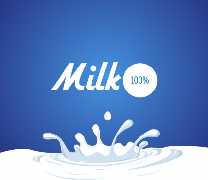 milk promotion banner white liquid decoration blue background