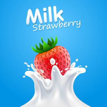 milk splashes with strawberry vectors