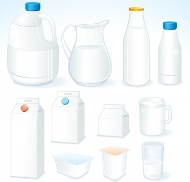 milk design elements box container bottle sketch