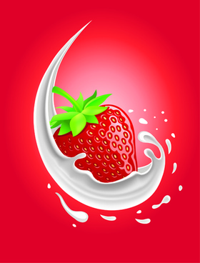 milk with fruit vector background