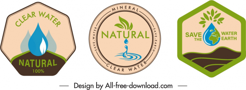 mineral water label template flat retro geometric shapes