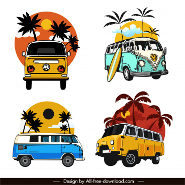 mini bus icons colorful classical sketch