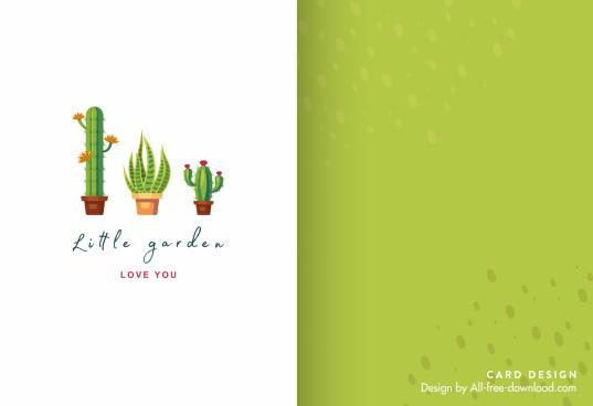 mini card template bright cactus pots decor