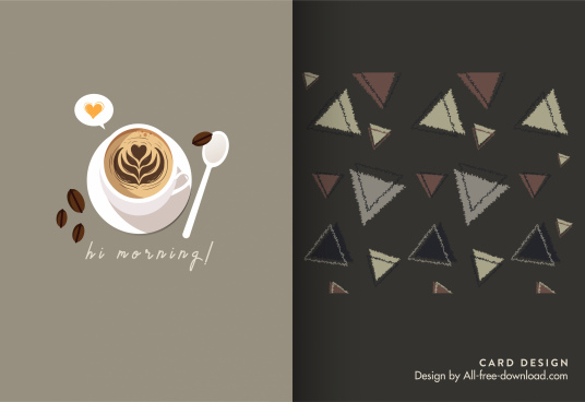 mini card template coffee cup triangles shapes decor
