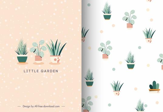 mini card template flowerpots decor bright elegant classic