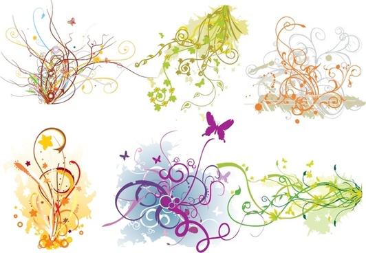 design elements collection colorful curves flowers trees icons