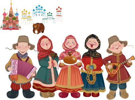 minorities cartoon figures vector