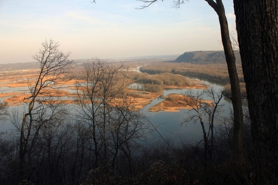 mississippi river through forest clearing at pikes peak state park iowa