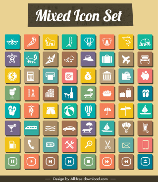 mixed icons collection colorful square isolation