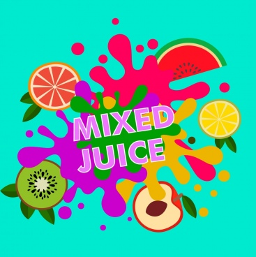 mixed juice background colorful splashing fruits icons decoration
