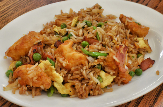 mmm orange chicken with bacon fried rice