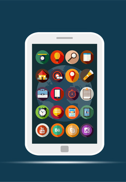 mobile applications sets illustration with flat design