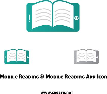 mobile book app icon vector