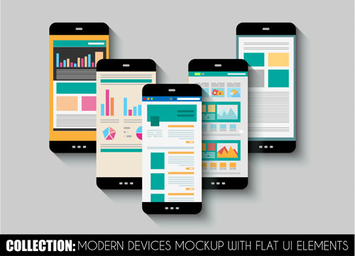 mobile devices mockup with flat ui elements vector