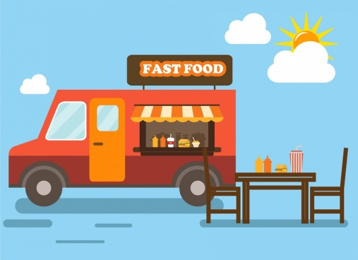 mobile fast food drawing car food table decoration