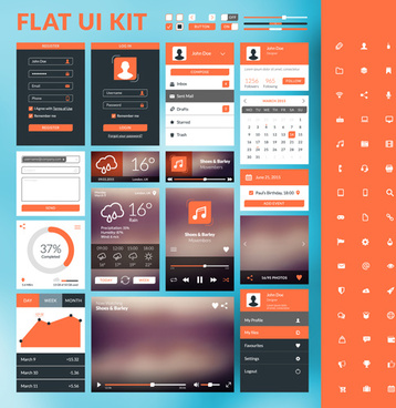mobile flat ui kit vector design