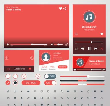 mobile flat ui kit vector design