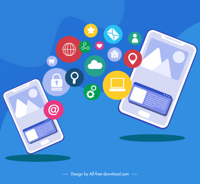 mobile phone application background colorful ui elements sketch