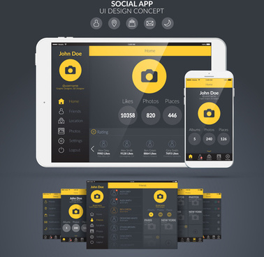 mobile social app interface design vector