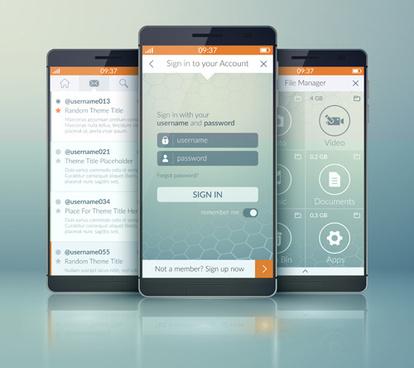 mobile social app interface design vector