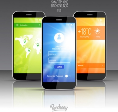 mockup design for weather application for smartphones