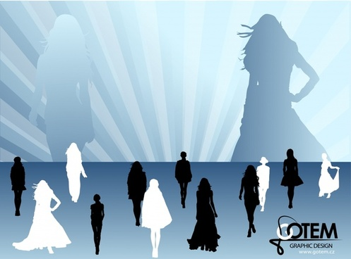 fashion background models icons silhouettes design rays decor