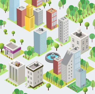 modem cartoon cityscape