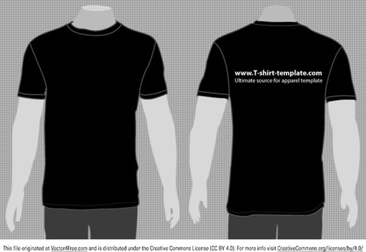 Black T Shirt Template Front And Back Free Vector Download 22948