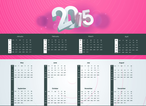 modern15 calendar and new year background vector