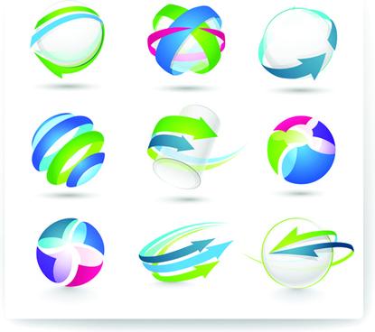 modern 3d logos design elements vector