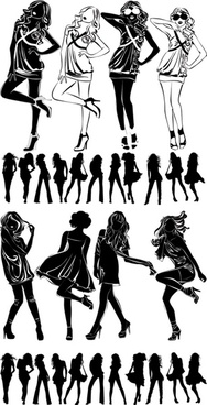 modern beautiful black and white silhouette vector