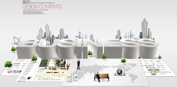modern business city template layered