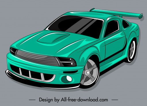 modern car icon green decor 3d handdrawn sketch
