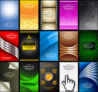 modern cards backgrounds set vector