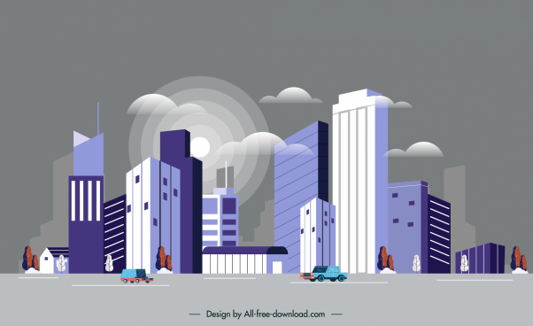 modern city background contemporary highrises sketch