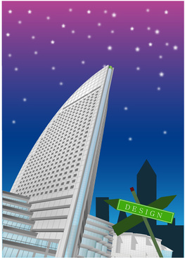 modern city skyscrapers design vector