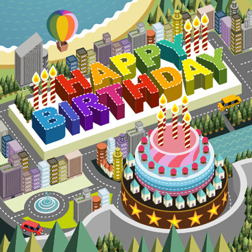 modern city with birthday background vector