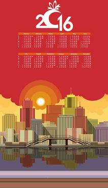 modern city with calendar16 vector