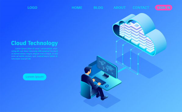 modern cloud technology and networking concept online computing technology big data flow processing concept internet data services vector illustration